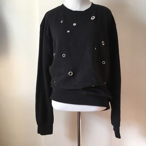 Boohoo Black Sweater with metallic pots size:L